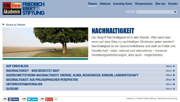 """Themenmodul """"Nachhaltigkeit"""" der FES OnlineAkademie"""